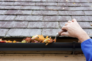 Man scooping leaves out of gutter